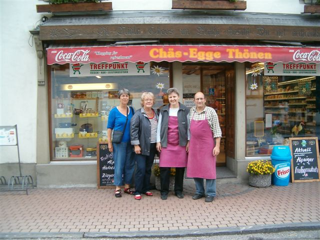 In front of the cheese shop in Frutigen.