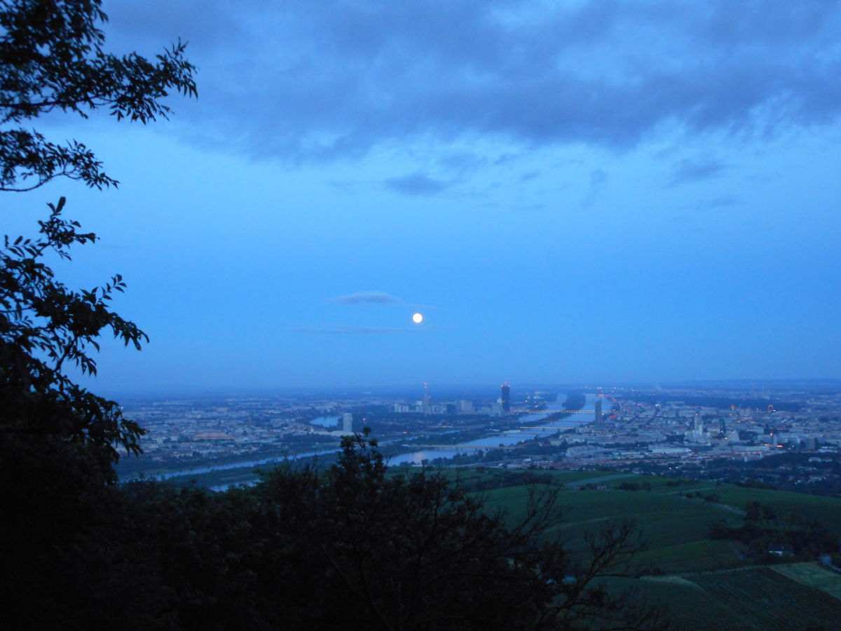 A wider view of the moon over the city.
