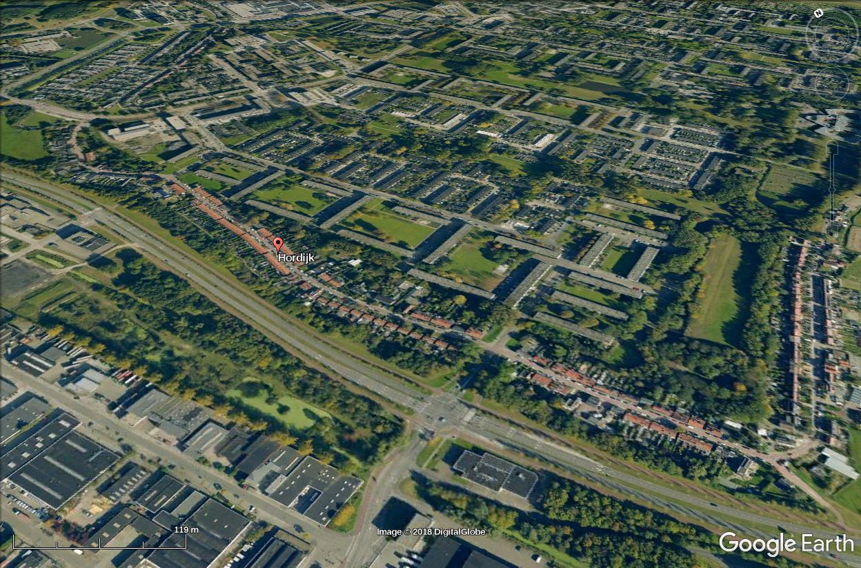The Hordijk in IJsselmonde as seen on Google Earth.